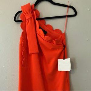 Victoria Beckham - orange XS one shoulder dress
